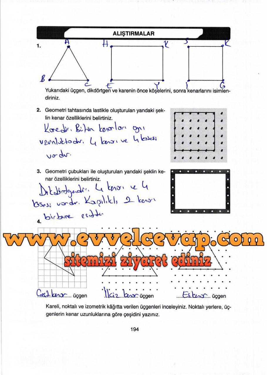 4. Sınıf Ata Yayıncılık Matematik Ders Kitabı Sayfa 194 Cevabı