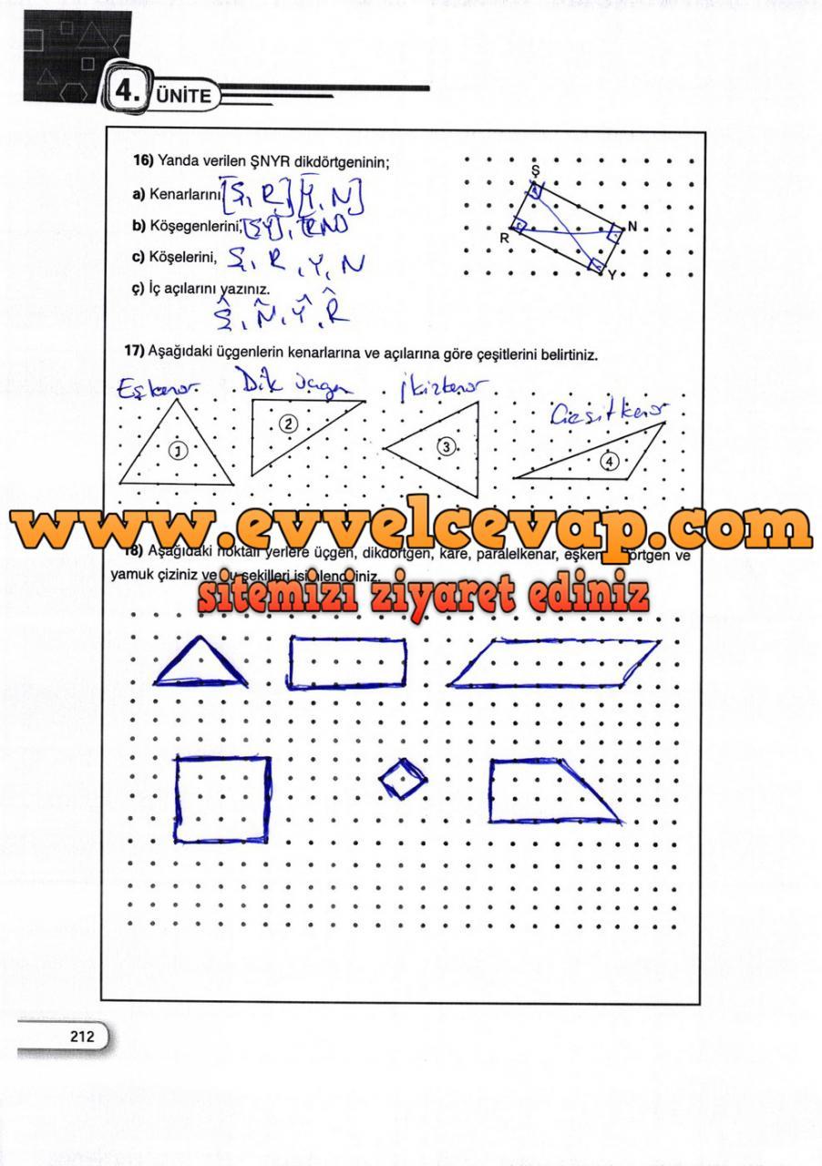 5. Sınıf Dikey Yayıncılık Matematik Ders Kitabı Sayfa 212 Cevabı