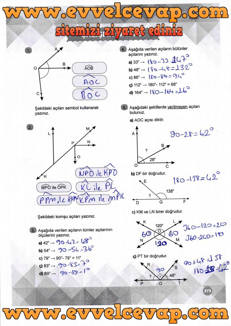 6. Sınıf Matematik Ders Kitabı Meb Yayınları Sayfa 273 Cevabı 2018-2019