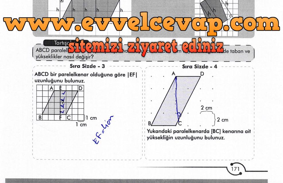 6. Sınıf Meb Yayınları Matematik Ders Kitabı Sayfa 171 Cevabı