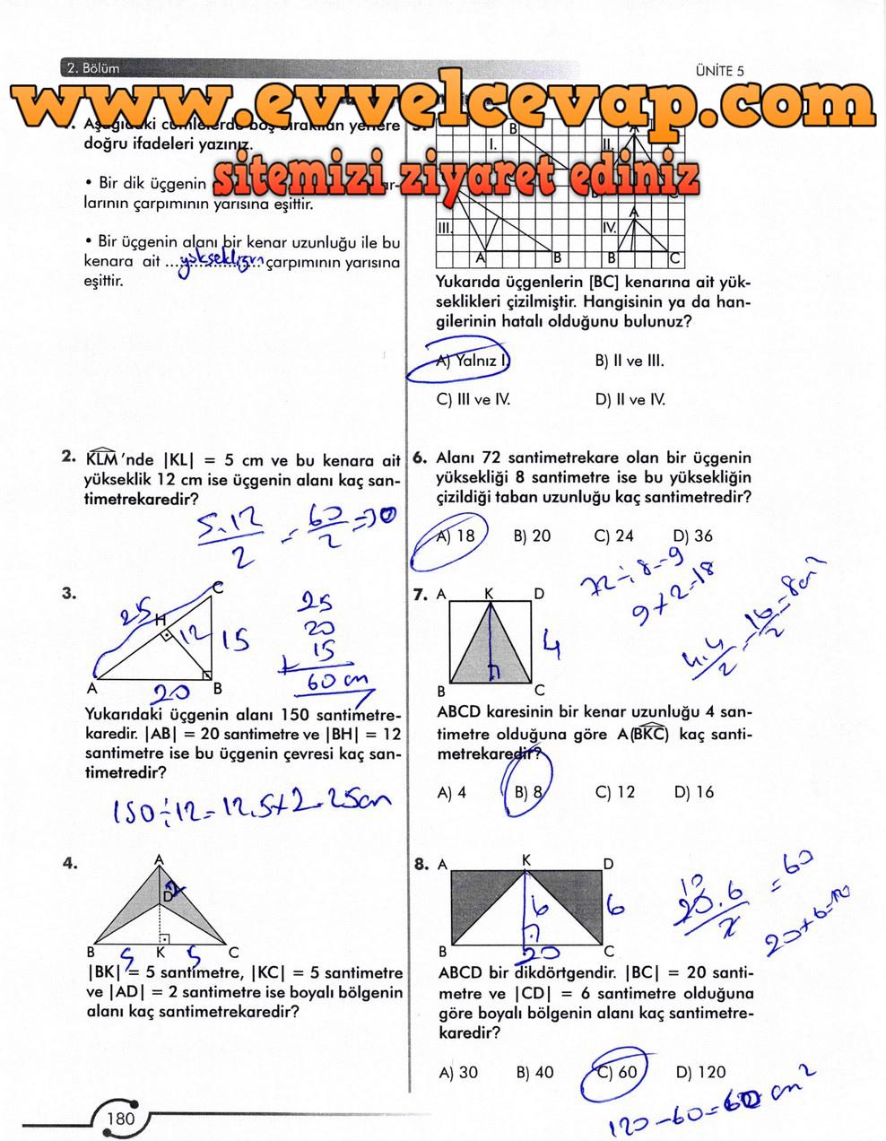 6. Sınıf Meb Yayınları Matematik Ders Kitabı Sayfa 180 Cevabı