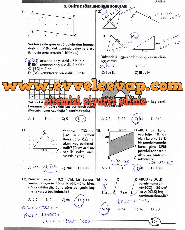 6. Sınıf Meb Yayınları Matematik Ders Kitabı Sayfa 195 Cevabı