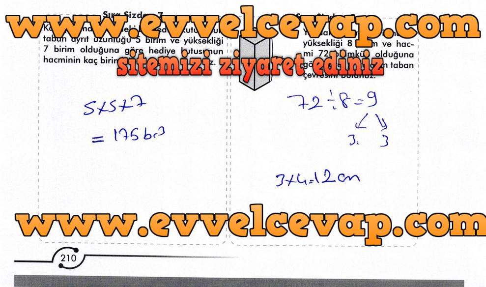 6. Sınıf Meb Yayınları Matematik Ders Kitabı Sayfa 210 Cevabı