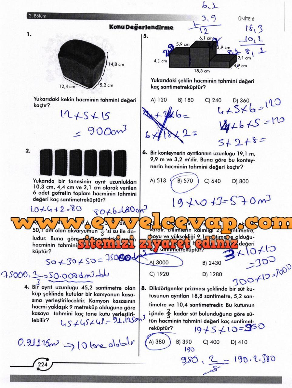 6. Sınıf Meb Yayınları Matematik Ders Kitabı Sayfa 224 Cevabı