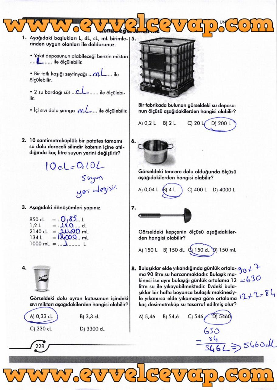 6. Sınıf Meb Yayınları Matematik Ders Kitabı Sayfa 228 Cevabı