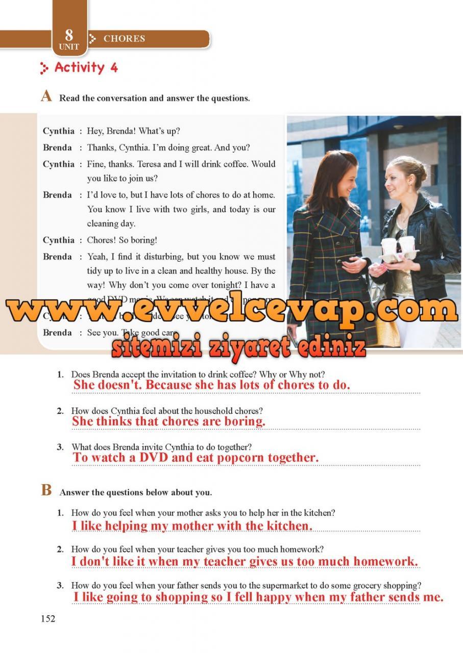 8. Sınıf Tutku Yayıncılık İngilizce Öğrenci Çalışma Kitabı Sayfa 152 Cevabı