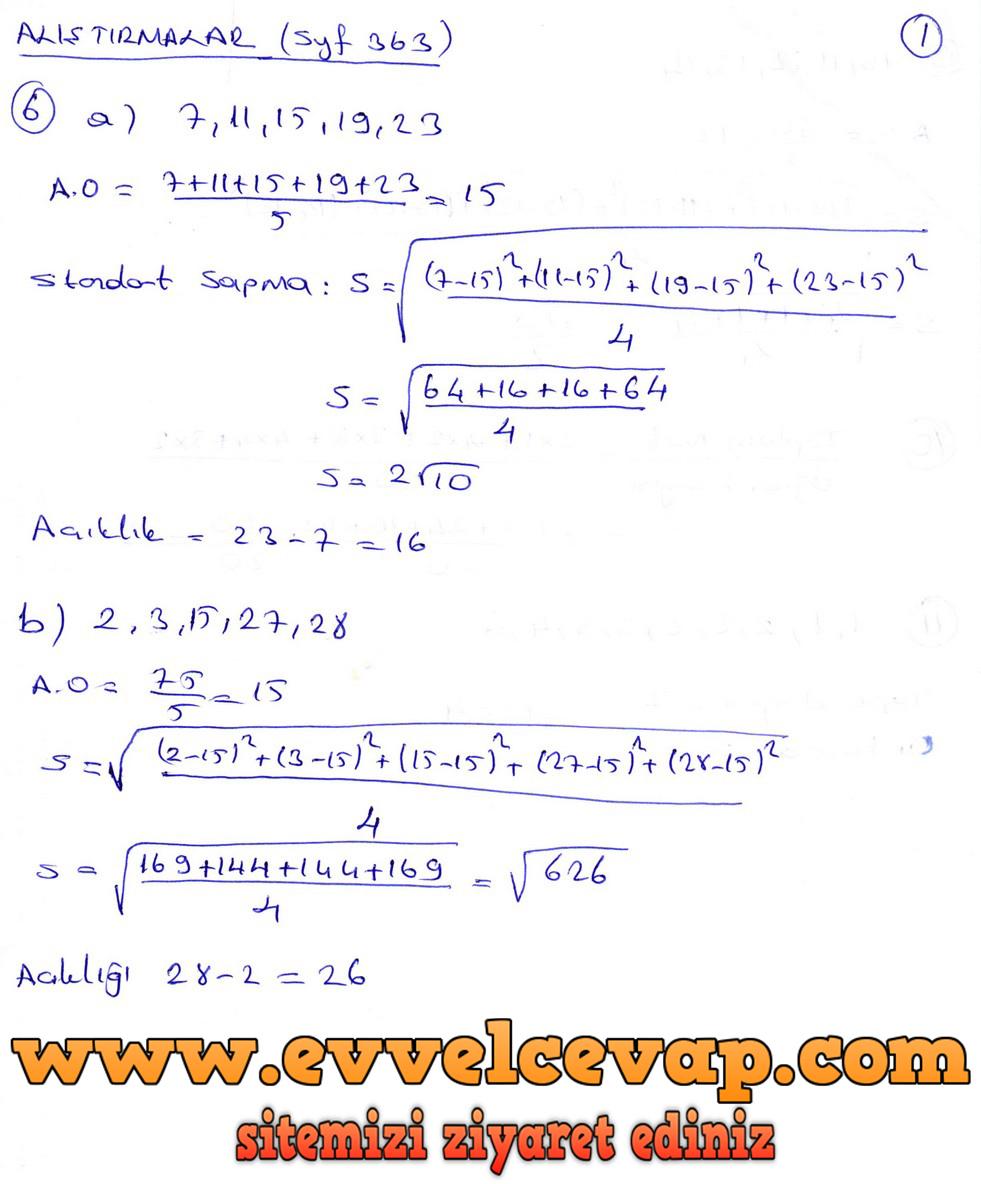 9. Sınıf Ödev Yayınları Matematik Ders Kitabı Sayfa 363 Cevapları