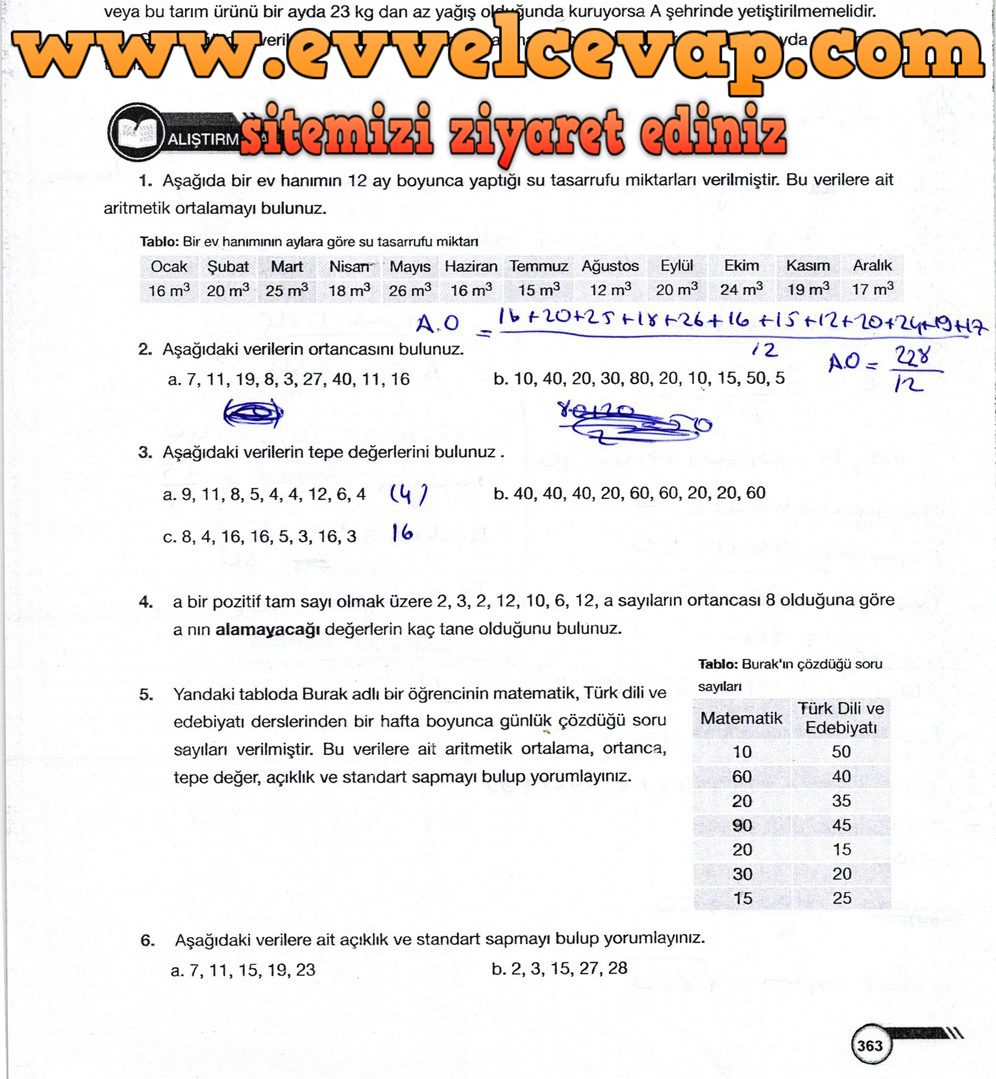 9. Sınıf Ödev Yayınları Matematik Ders Kitabı Sayfa 363 Cevabı