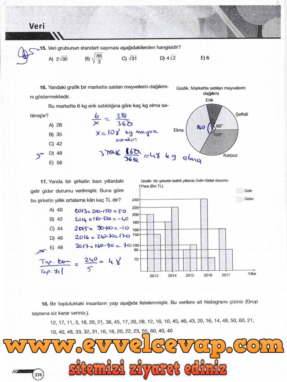 9. Sınıf Ödev Yayınları Matematik Ders Kitabı Sayfa 376 Cevabı