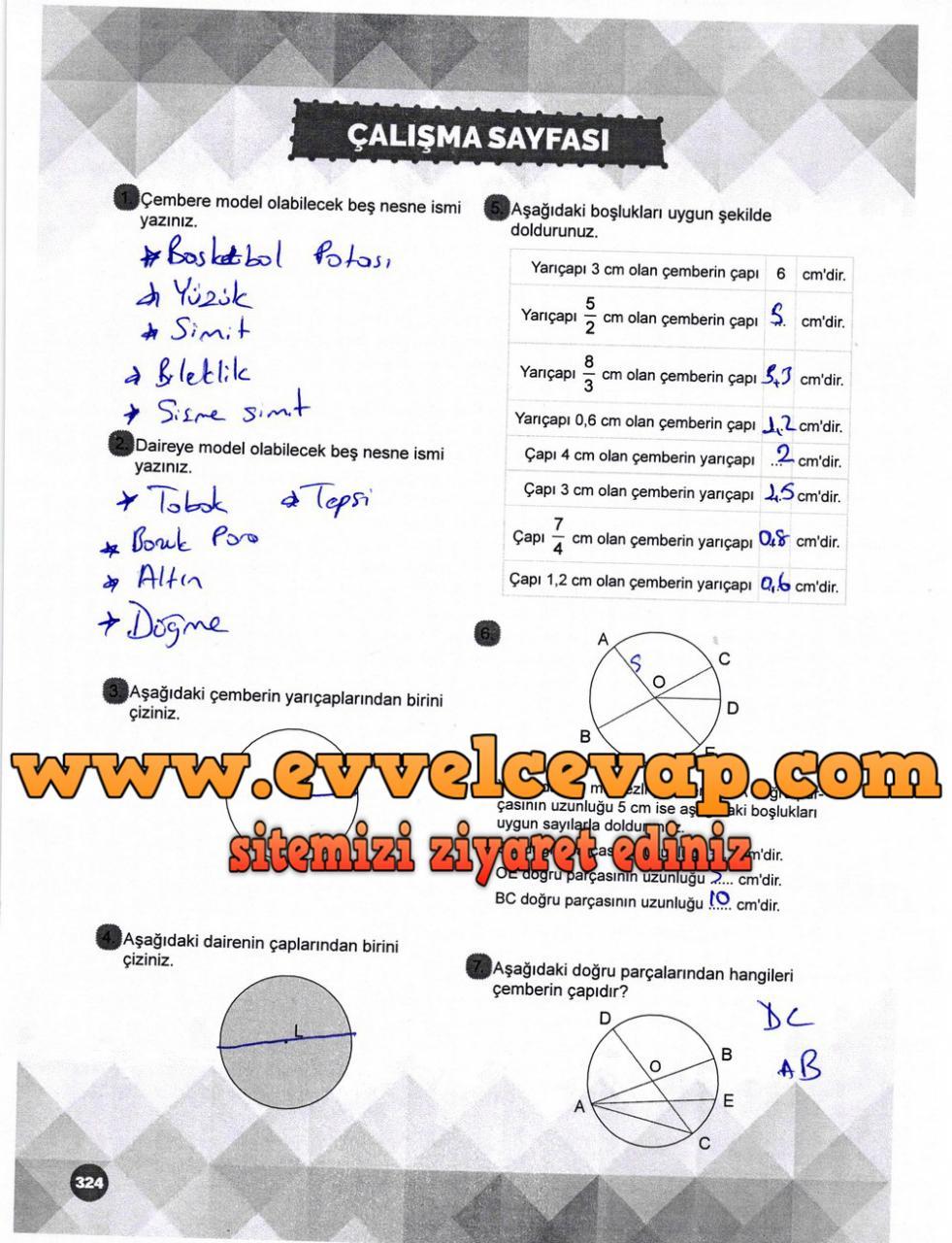 6. Sınıf Matematik Ders Kitabı Meb Yayınları Sayfa 324 Cevabı 2018-2019